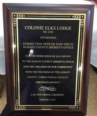 John Smith Law Enforcement Award Plaque